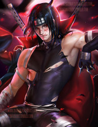 1boy bandage black_hair blood blood_on_face cowboy_shot forehead_protector jacket_on_shoulders konohagakure_symbol licking_lips male_focus naruto nipple_slip nipples red_eyes sakimichan shuriken single_elbow_glove sitting solo tongue tongue_out torn_clothes uchiha_itachi