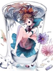 1girl :t aqua_skirt bangs barefoot blue_eyes blue_flower bow bowtie broken_glass brown_hair commentary cup glass glass_shards hair_bow holding_breath leg_hug long_hair long_legs looking_down no_panties opopowa orange_bow original pill pink_flower pleated_skirt school_uniform serafuku short_sleeves skirt solo spilling submerged thighs water yellow_flower