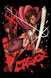 2girls armor back-to-back berserk boots breastplate brown_boots brown_eyes brown_gloves brown_hair cape casca collaboration colored commentary dan_ciurckzak dark_skin dress dual_persona faulds fighting_stance gloves jeiae lips long_hair messy_hair multiple_girls nose pauldrons short_hair simple_background sword thigh_boots thighhighs tumblr_nose very_dark_skin weapon