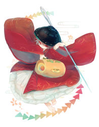 1girl ashiyu_(ashu-ashu) bowl hat highres japanese_clothes kimono mallet needle obi purple_hair red_eyes sash short_hair solo sukuna_shinmyoumaru touhou