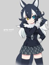 1girl animal_ears argyle argyle_necktie black_hair black_jacket black_legwear blazer blue_eyes breast_pocket buttons character_name collar commentary copyright_name cowboy_shot english eyebrows_visible_through_hair eyelashes fur_collar gloves grey_background grey_gloves grey_wolf_(kemono_friends) hair_between_eyes hand_on_hip hand_up heterochromia holding holding_pencil ica jacket kemono_friends long_hair long_sleeves looking_at_viewer multicolored_hair necktie pencil plaid plaid_skirt pleated_skirt pocket romaji shiny shiny_hair simple_background skirt smile solo tail thighhighs tsurime two-tone_hair wavy_hair white_hair wolf_ears wolf_tail wrist_cuffs yellow_eyes zettai_ryouiki