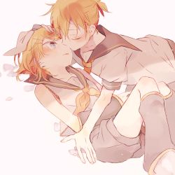 1boy 1girl ascot blonde_hair blush brother_and_sister detached_sleeves eyes_closed flower hair_ornament hair_ribbon hairpin hand_on_another's_head hetero incest kagamine_len kagamine_rin kiss looking_at_another lying makoji_(yomogi) musical_note necktie on_back ponytail ribbon sailor_collar short_hair siblings twincest twins vocaloid