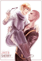 1boy 1girl blonde_hair blue_eyes boots buzz_cut carrying jake_muller meroz pants princess_carry resident_evil resident_evil_6 scar scarf sherry_birkin short_hair sleeves_rolled_up sunglasses_removed sweater watermark web_address
