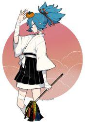 1boy bandage blue_hair japanese_clothes l_hakase male_focus sayo_samonji solo touken_ranbu twitter_username