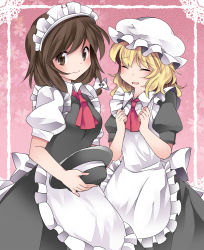 2girls alternate_costume apron blonde_hair blush bow brown_eyes brown_hair enmaided eyes_closed hair_bow hammer_(sunset_beach) hat long_hair looking_at_viewer maid maid_headdress maribel_hearn multiple_girls open_mouth short_hair smile touhou usami_renko waist_apron