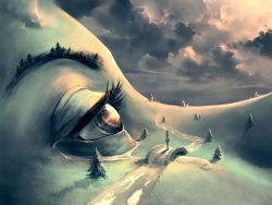 arms_behind_back bridge brown_eyes cloud cloudy_sky cyril_rolando eyelashes face fir_(tree) hill landscape muted_color nature original outdoors river road scenery skirt sky solo standing stream tears tree
