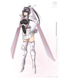 1girl armor armored_boots artist_name black_hair black_legwear boots breasts breasts_apart character_name copyright_name full_body green_eyes hair_ornament hand_on_hip high_heel_boots high_heels high_ponytail highres long_hair looking_at_viewer mecha_musume medium_breasts phantom_queen_ex-xecty pleated_skirt shining_(series) shining_blade shining_hearts simple_background skirt solo standing tanaka_takayuki thigh_boots thighhighs white_background white_boots white_skirt