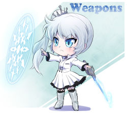 alternate_costume blue_eyes boots chibi english glyph iesupa myrtenaster ponytail rwby scar weiss_schnee white_hair