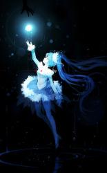 1girl bai_yemeng blue_dress blue_eyes blue_hair darkness dress glowing hair_ornament hatsune_miku heart long_hair long_sleeves monochrome reaching_out solo_focus twintails very_long_hair vocaloid waves