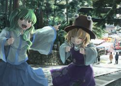 2girls backpack bag blonde_hair bridge crowd detached_sleeves eyes_closed festival forest frog_hair_ornament frog_print green_eyes green_hair grin hair_ornament hat ichiba_youichi kochiya_sanae long_sleeves moriya_suwako multiple_girls nature one_side_up open_mouth pants pointing pointing_forward shirt skirt skirt_set smile snake_hair_ornament torii touhou vest wide_sleeves