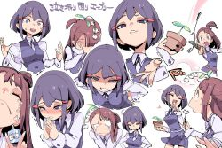2girls avery_(little_witch_academia) breasts brown_hair chris_(mario) covering_face crying embarrassed eyes_closed faceless hair_ornament hairclip half-closed_eyes hand_on_hip hands_together kagari_atsuko laughing leaning_forward little_witch_academia long_hair magic multiple_girls plant potted_plant purple_eyes purple_hair red_eyes school_uniform short_hair simple_background smile smirk sweatdrop tears text translation_request v vest white_background witch