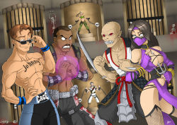 2girls 4boys baraka between_breasts blunt-katana cleavage half_mask jax_(mortal_kombat) johnny_cage kano_(mortal_kombat) mileena mortal_kombat multiple_boys multiple_girls red_eyes sharp_teeth sonya_blade