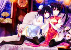 2girls bare_shoulders bed bed_sheet black_hair breasts china_dress chinese_clothes clock clock_eyes date_a_live dual_persona fan feet flower gururu hair_over_one_eye hairband hand_holding lantern legs long_hair looking_at_viewer miniskirt multiple_girls no_shoes on_bed open_mouth paper_fan pillow red_eyes ribbon sitting skirt small_breasts smile thighhighs thighs tokisaki_kurumi twintails very_long_hair wariza