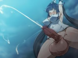 armpits arms_up aya_(thon2hk) black_hair blush breasts cleavage cum decensored dress ejaculation elbow_gloves elzikyuchi erect_nipples erection eyes_closed futanari gloves handsfree_ejaculation hestia_(danmachi) large_breasts large_testicles nipples open_mouth penis photoshop sweat tears testicles tied_hair twintails uncensored