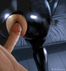 1boy 1girl anal ass bent_over bodysuit catsuit close-up clothed_female_nude_male clothed_sex commander_shepard imminent_anal imminent_sex kaihlan latex latex_suit leather mass_effect miranda_lawson penis sex standing watermark