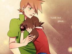 2boys multiple_boys ookido_green pokemon red_(pokemon) tears yaoi