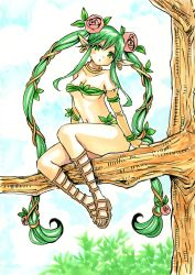 1girl alternate_hairstyle braid dryad_(terraria) female highres long_hair solo terraria traditional_media tree tree_branch twin_braids