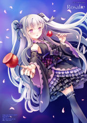1girl 2016 artist_name black_legwear black_ribbon black_shirt black_skirt blush candy_apple character_name copyright_name dated detached_sleeves dutch_angle embarrassed eyebrows_visible_through_hair flower food frilled_legwear gothic_wa_mahou_otome hair_ribbon holding holding_food lolita_fashion long_hair long_sleeves looking_away number obi parted_lips pink_eyes purple_rose ribbon rosalie_(gothic_wa_mahou_otome) rose sash shirt silver_hair skirt sleeveless sleeveless_shirt solo standing thighhighs twitter_username two_side_up very_long_hair wa_lolita watermark web_address wide_sleeves