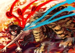 1girl :d ahoge all_fours ass asymmetrical_wings berabou black_hair breasts fang hanging_breasts houjuu_nue looking_at_viewer medium_breasts monster_girl nue open_mouth red_eyes slit_pupils smile solo topless touhou wings