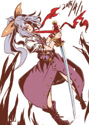 1girl absurdres belt biting bow hair_bow hair_ribbon highres long_hair ponytail purple_hair red_eyes ribbon sketch solo sword the_maa touhou watatsuki_no_yorihime weapon