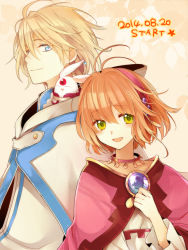 1boy 1girl :d ahoge blonde_hair blue_eyes brown_hair bust cape dated fay_d_flourite green_eyes hair_ornament hairband hand_on_own_chest hutuumikan jewelry mokona necklace open_mouth sakura_hime short_hair smile tagme tsubasa_chronicle