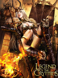 armor azazel1944 boots fire legend_of_the_cryptids long_hair silver_hair sitting skull sword