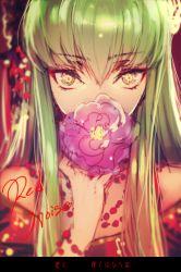 1girl c.c. code_geass creayus eyeliner flower green_hair long_hair looking_at_viewer makeup solo yellow_eyes