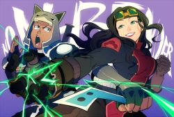 1boy 1girl armor asami_sato avatar:_the_last_airbender breasts electricity goggles goggles_on_head sokka t_k_g the_legend_of_korra time_paradox