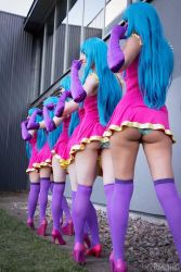 6+girls ass blue_hair blunt_bangs cosplay dress elbow_gloves from_behind gloves high_heels legs long_hair me!me!me! meme_(me!me!me!) multiple_girls multiple_persona outdoors panties photo purple_gloves purple_legwear skindentation standing striped_panties thighhighs thighs