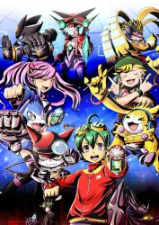1girl 3boys appidriver appmon asuka_torajirou blonde_hair blue_hair cable cellphone commentary_request digimon digimon_universe:_appli_monsters dogatchmon dokamon everyone gatchmon goggles goggles_on_head green_hair hackmon hat headphones highres jacket karan_eri katsura_rei konna-nani multicolored_hair multiple_boys musimon necktie phone purple_hair raidramon shinkai_haru smartphone torajirou_asuka twintails