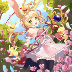 1girl :d animal_ears bare_shoulders black_legwear blonde_hair blush bowtie bunny bunny_ears character_request copyright_request detached_collar dutch_angle fang flower frilled_skirt frills fur_trim gloves green_eyes holding kyoma_(yellowxcake) long_hair neck_ribbon open_mouth outdoors petals pink_gloves ribbon skirt smile solo thighhighs tree wand