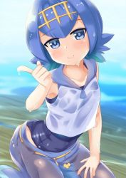 1girl blue_eyes blue_hair collarbone eyebrows_visible_through_hair hairband hand_on_own_knee head_tilt index_finger_raised kneeling looking_at_viewer niiya one-piece_swimsuit pokemon pokemon_(game) pokemon_sm shiny shiny_hair short_hair sleeveless smile solo suiren_(pokemon) swimsuit swimsuit_under_clothes water wet wet_clothes