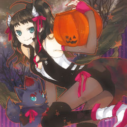 1girl :q aqua_eyes black_legwear boots brown_hair buzz camisole fingerless_gloves fishnets gloves halloween horns jack-o'-lantern legwear_under_shorts pantyhose pantyhose_under_shorts pokemon pokemon_(game) pokemon_bw ponytail pumpkin ribbon shorts thighhighs tongue tongue_out touko_(pokemon) vest zorua