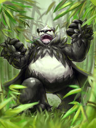 bear eye_trail fist glowing_eyes nintendo no_humans open_mouth panda pangoro pokemon pokemon_(game) pokemon_xy red_eyes sharp_teeth solo teeth tongue uvula