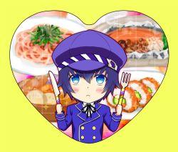 1girl androgynous asuma_shin blue_eyes blue_hair blush cabbie_hat chibi drooling fork hat heart hungry knife persona persona_4 reverse_trap shirogane_naoto short_hair solo