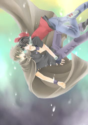 2boys black_hair brown brown_hair cape child falling gloves hand_on_another's_cheek hand_on_another's_face hat male_focus multiple_boys ookido_green ookido_shigeru pokemon pokemon_(anime) pokemon_(game) pokemon_frlg pokemon_rgby pokemon_special red red_(pokemon) satoshi_(pokemon) short_hair snow surprised suzusawa_aki touch_face wristband yaoi