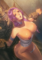 1girl ass blue_eyes breasts choker circlet corset earrings forced highres homare_(fool's_art) jewelry large_breasts long_hair monster nipples open_mouth original purple_hair rape restrained shiny shiny_skin solo_focus