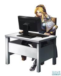 armor blonde_hair blue_eyes chair computer eirashard headphones highres league_of_legends luxanna_crownguard monitor table