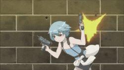 animated animated_gif beretta_92 goutokuji_kayo gun handgun jill_valentine jill_valentine_(cosplay) mac-10 parody resident_evil resident_evil_3 sabagebu! sonokawa_momoka submachine_gun the_matrix weapon