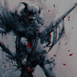 1girl belt bullet chains error501 flower gas_mask gun horns long_hair looking_at_viewer machine_gun midriff navel original red_rose rose skull solo thighhighs weapon