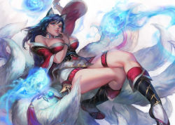 1girl ahri animal_ears aoin bare_shoulders black_hair blue_eyes bracelet breasts facial_mark finger_to_mouth fox_ears fox_tail highres jewelry large_breasts league_of_legends legs multiple_tails solo tail thighs