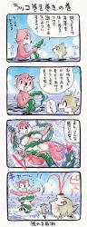 1boy 1girl 4koma artist_request comic furry japanese nosebleed stuck translation_request water