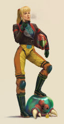 1girl ;3 agentscarlet alien armor blonde_hair bodysuit boots cigar fangs gloves helmet highres jacket juice_box knee_pads leather leather_jacket lips long_hair metroid metroid_(creature) multicolored multicolored_bodysuit multicolored_clothes orange_bodysuit ponytail realistic resized revision samus_aran science_fiction scrunchie smoke smoking solo_focus upscaled yellow_bodysuit