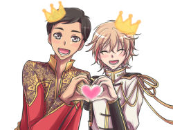 2boys ^_^ armor black_hair blonde_hair crossover crown eyes_closed grey_eyes heart heart_hands heart_hands_duo japanese_armor kirihara_wakana kote male_focus monoyoshi_sadamune multiple_boys ono_kenshou open_mouth phichit_chulanont seiyuu_connection smile sode touken_ranbu yuri!!!_on_ice