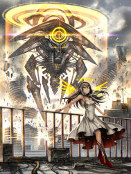 1girl cable cityscape cloud cloudy_sky commentary_request destruction dress explosion gia grey_hair halo high_heels highres leaning_back long_hair looking_afar mecha original railing red_eyes robot scp-2000 scp_foundation silver_hair sky solo white_dress wings