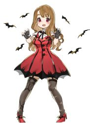 1girl bat black_nails blush brown_hair character_request curly_hair dress fangs fingerless_gloves fingernails garter_straps gloves highres idolmaster idolmaster_cinderella_girls long_fingernails long_hair looking_at_viewer my_dear_vampire nail_polish open_mouth red_dress red_eyes solo spawnfoxy standing thighhighs