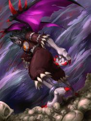 bandai claws demon demon_(digimon) digimon evil evil_eyes fangs horns mist monster no_humans seven_great_demon_lords sketch skull wind wings