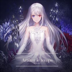 1girl album_cover arms_at_sides bare_shoulders blue_eyes breasts closed_mouth cover cowboy_shot crystal dress elbow_gloves flower gloves heterochromia light_smile long_hair looking_at_viewer makai_no_juumin original red_eyes silver_hair small_breasts solo white_dress white_gloves