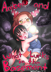 2girls ass blush denim english flashlight flat_chest loli monster multiple_girls nude overalls penis tears tentacle text uncensored vokatron19