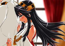 1girl admiral_(kantai_collection) bare_shoulders black_hair blush detached_sleeves hairband haruna_(kantai_collection) japanese_clothes jewelry kantai_collection kobamiso_(kobalt) long_hair nontraditional_miko ring wedding_ring